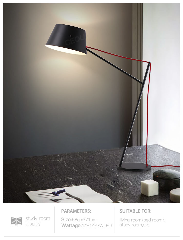 product-CEOU-Black metal steel hotel bedroom bedside table lamp CT1027-img-1