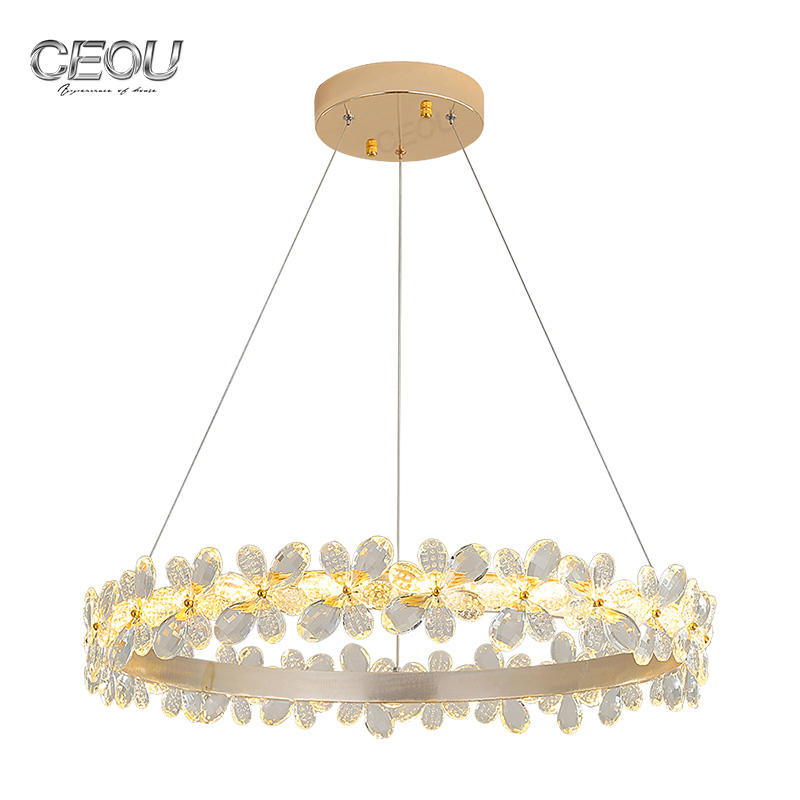 High quality flower shaped crystal chandelier pendant light CD1030