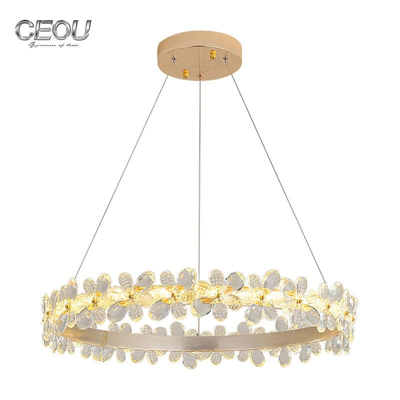 High quality flower shaped crystal chandelier pendant light CD1030
