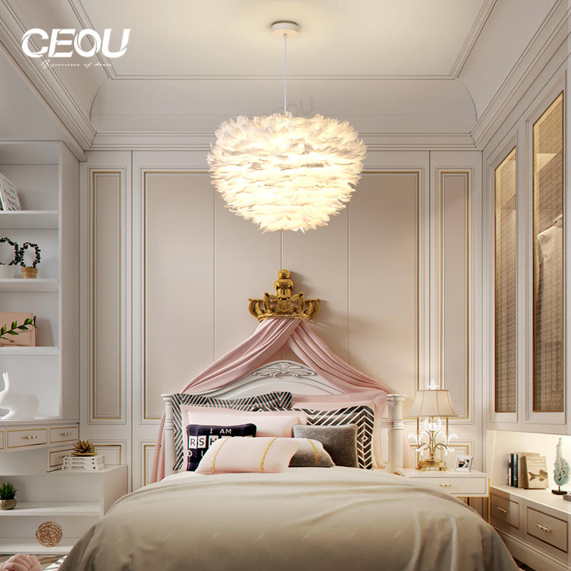 Nordic feather lamp contemporary and contracted bedroom individual character style sweet and romantic white lamps With Good Price-CEOU