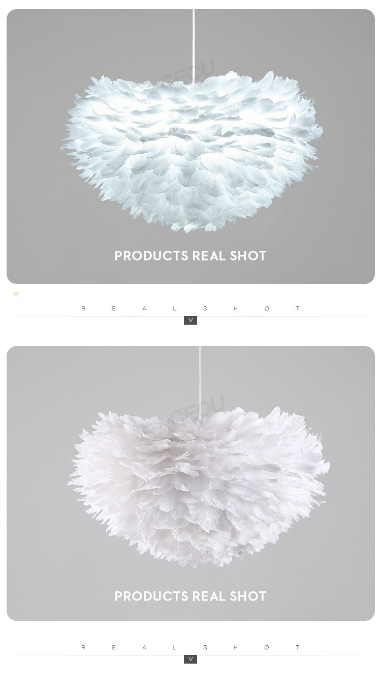 product-Nordic feather lamp contemporary and contracted bedroom individual character style sweet and