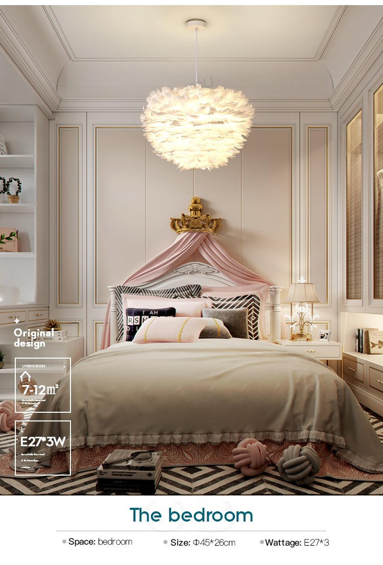 product-Nordic feather lamp contemporary and contracted bedroom individual character style sweet and-1