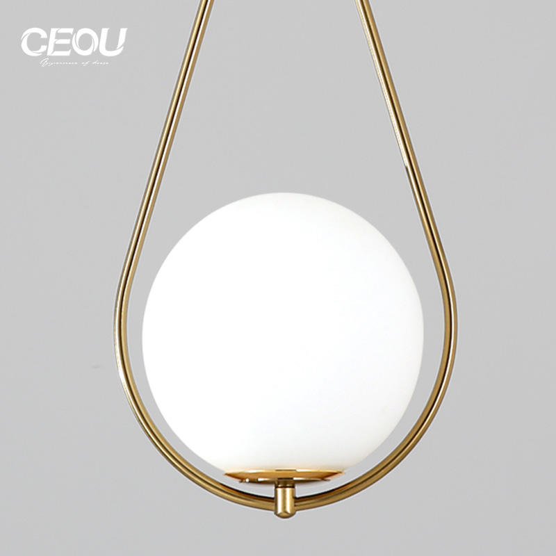 Factory Price Bedside chandelier Nordic light luxury creative balcony lamp spherical dining bar single head small chandelier Supplier-CEOU